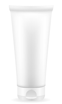 Crèmelotion in een plastic containerverpakking op wit