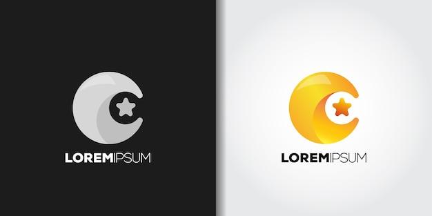 Crescent moon star-logo Premium Vector