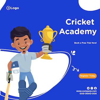 Cricket academy banner in cartoon stijlsjabloon
