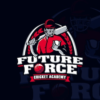 Cricket academy sport player-logo