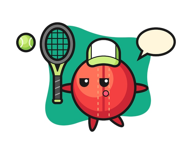 Cricket bal cartoon als een tennisser