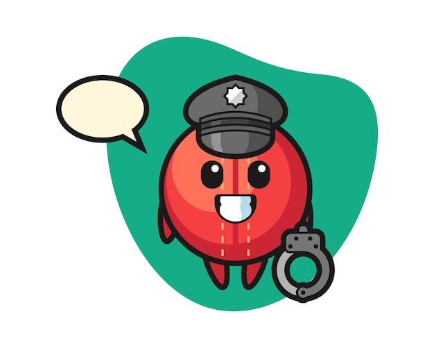 Cricket bal cartoon als politie