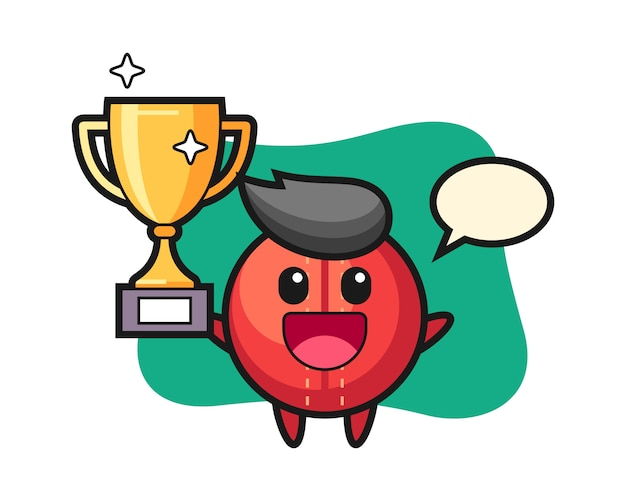 Cricket bal cartoon gelukkig houden de gouden trofee