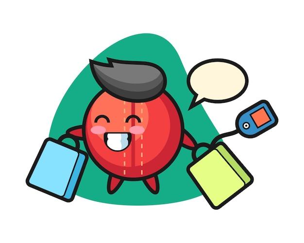 Cricket bal cartoon met een boodschappentas