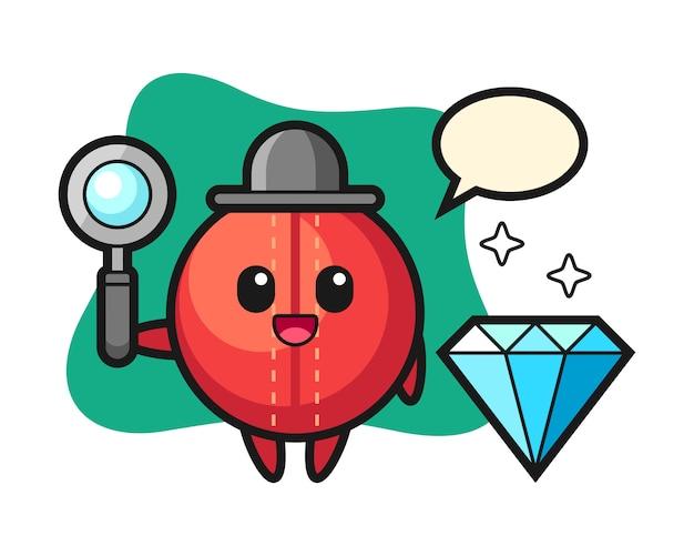 Cricket bal cartoon met een diamant