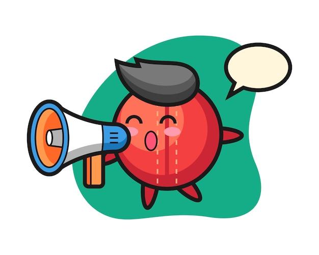 Cricket bal cartoon met een megafoon