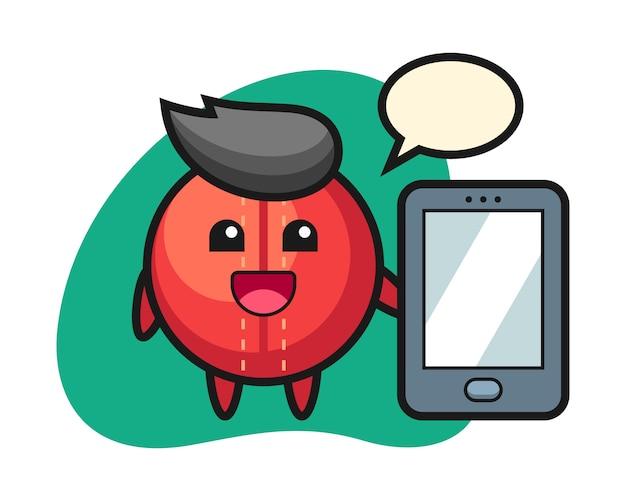 Cricket bal cartoon met een smartphone
