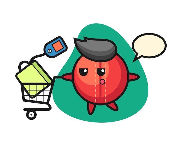 Cricket bal cartoon met een winkelwagentje