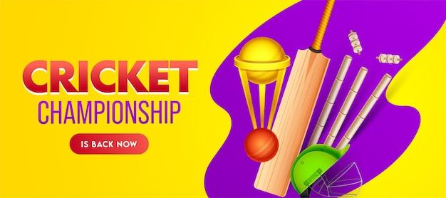 Cricket championship banner design met golden trophy cup en realistische apparatuur op gele en paarse achtergrond.