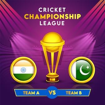 Cricket championship league concept met gouden winnende trophy cup en deelnemende landen vlag van india versus pakistan in cirkelframe.