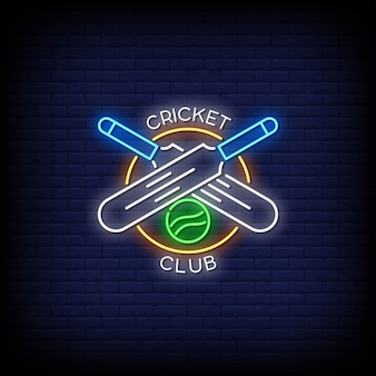 Cricket club logo neon signs style text
