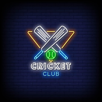 Cricket club neon signs style text