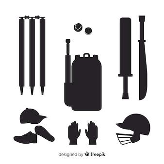Cricket elementen silhouet collectie