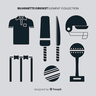 Cricket elementen silhouet collectie