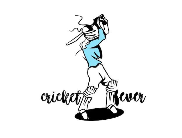 Cricket fever uit de vrije hand schets grafisch ontwerp vectorillustratie