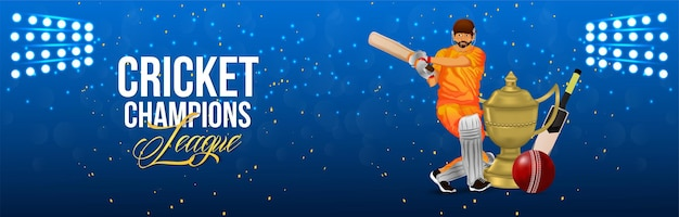 Cricket kampioenschap banner met cricketspeler en trofee
