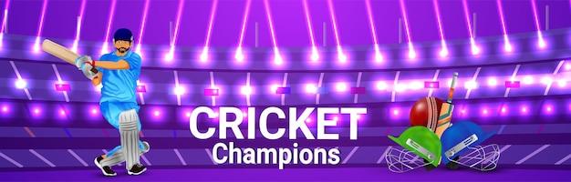 Cricket kampioenschap banner of koptekst met cricketspeler