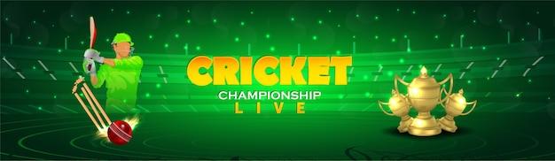 Cricket kampioenschap header of banner met cricketapparatuur met gouden trofee