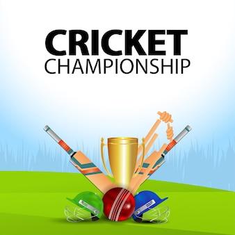 Cricket kampioenschap illustratie met cricket apparatuur