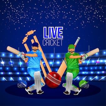 Cricket kampioenschap match wenskaart met cricketspelers