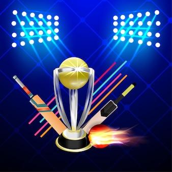 Cricket kampioenschap toernooi wedstrijd met gouden trofee