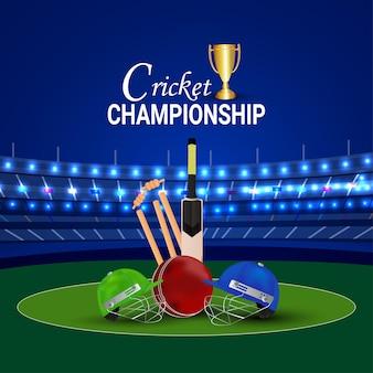 Cricket kampioenschap toernooi wedstrijd met stadion