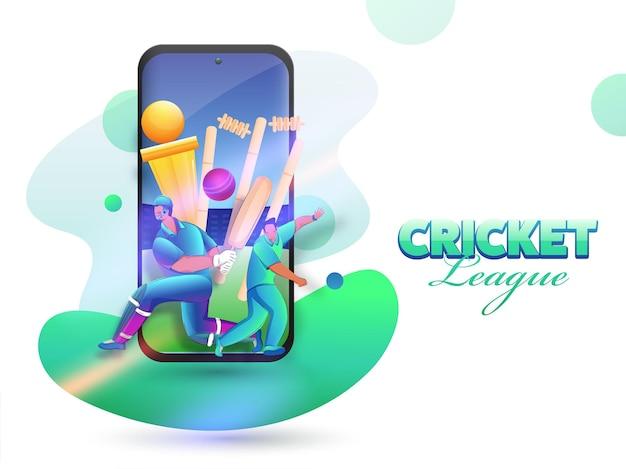 Cricket league concept met cartoon batsman, bowler character en golden trophy cup in smartphone-scherm.