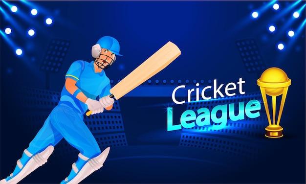 Cricket league concept met cartoon batsman