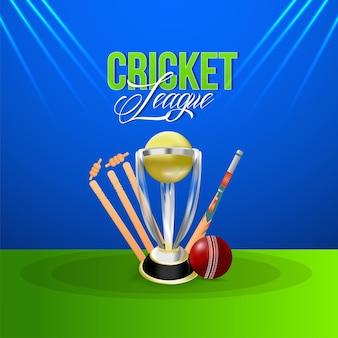 Cricket league kampioenswedstrijd met gouden trofee, wicket en bal