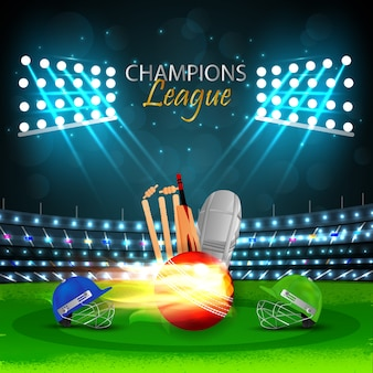 Cricket match concept met stadion en achtergrond