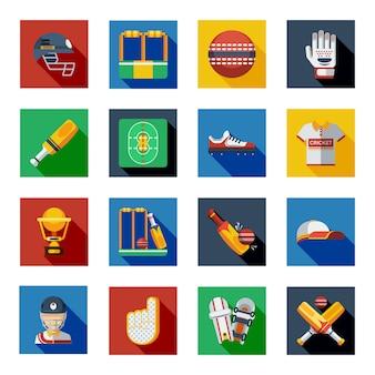 Cricket shadow icons set
