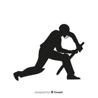 Cricket speler silhouet