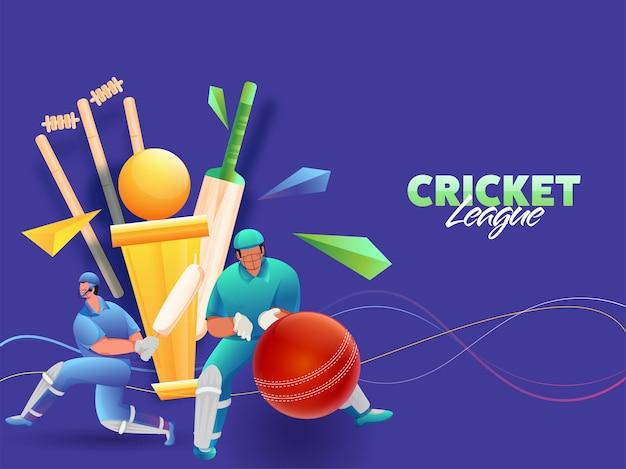 Cricket spelers karakter met realistische apparatuur en gouden trofee cup op blauwe achtergrond.