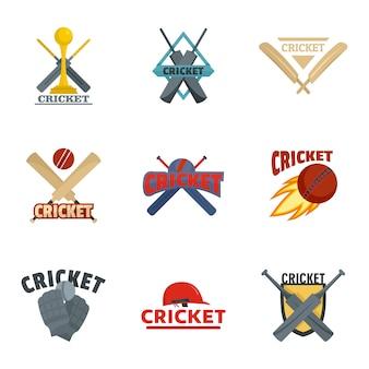 Cricket sport bal bat logo pictogrammen instellen