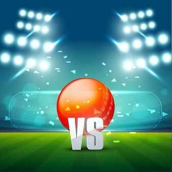 Cricket stadion met bal in het midden