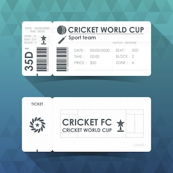 Cricket ticket kaart ontwerp.