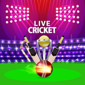 Cricket-toernooiwedstrijd met stadion en vleermuizen en gouden trofee