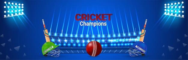 Cricket wedstrijd concept banner met cricketspeler helm en vleermuizen