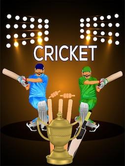 Cricketkampioenschapstoernooi-flyer met illustratie van cricketspeler