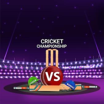 Cricketstadion met vleermuis en stempel voor cricketkampioenschap