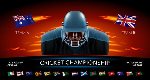 Crickettoernooi. cricketspeler en vlaggen van landen in het ontwerp van de banner van de spelaankondiging