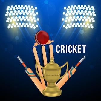 Crickettoernooi met knuppel en trofee