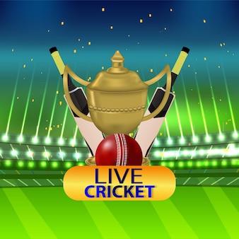 Cricketwedstrijd concept met stadion