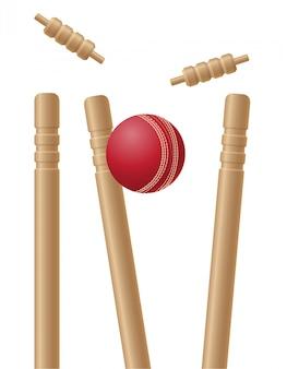 Criket wickets en bal vectorillustratie