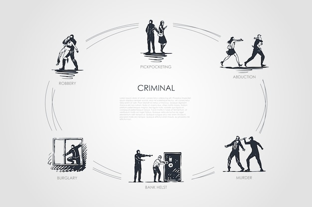 Criminal concept set illustratie