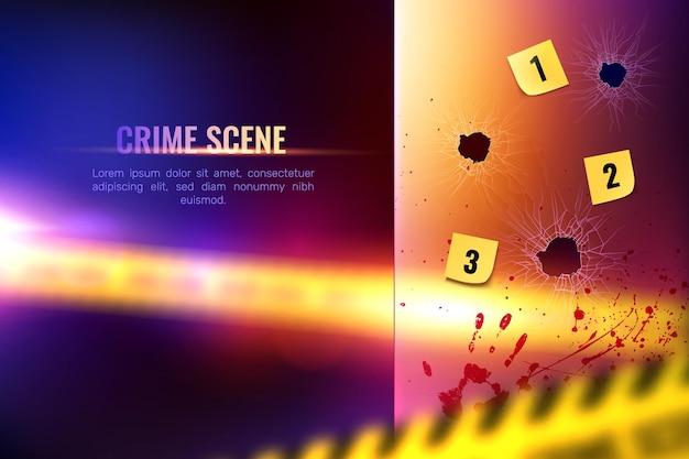 Criminalistische detectivesamenstelling van realistische bloedige plekken en genummerde kogelgaten op wazig oppervlak met tekst