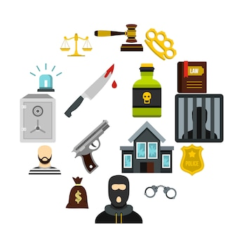 Criminaliteit en straf iconen set, vlakke stijl