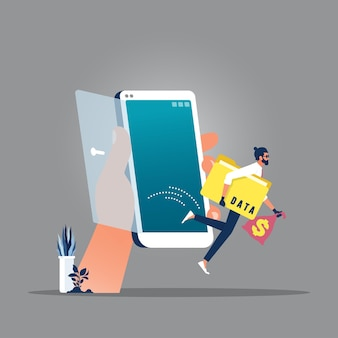 Criminele man dief bedrijf map met woord gegevens en geld tas weglopen van mobiele telefoon