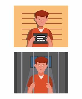 Criminele man in identiteitskamer en van binnen naar celgevangenis, man in gevangenis scène set cartoon vlakke afbeelding