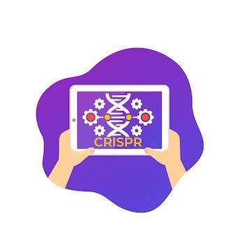 Crispr, genoombewerkingspictogram met tablet